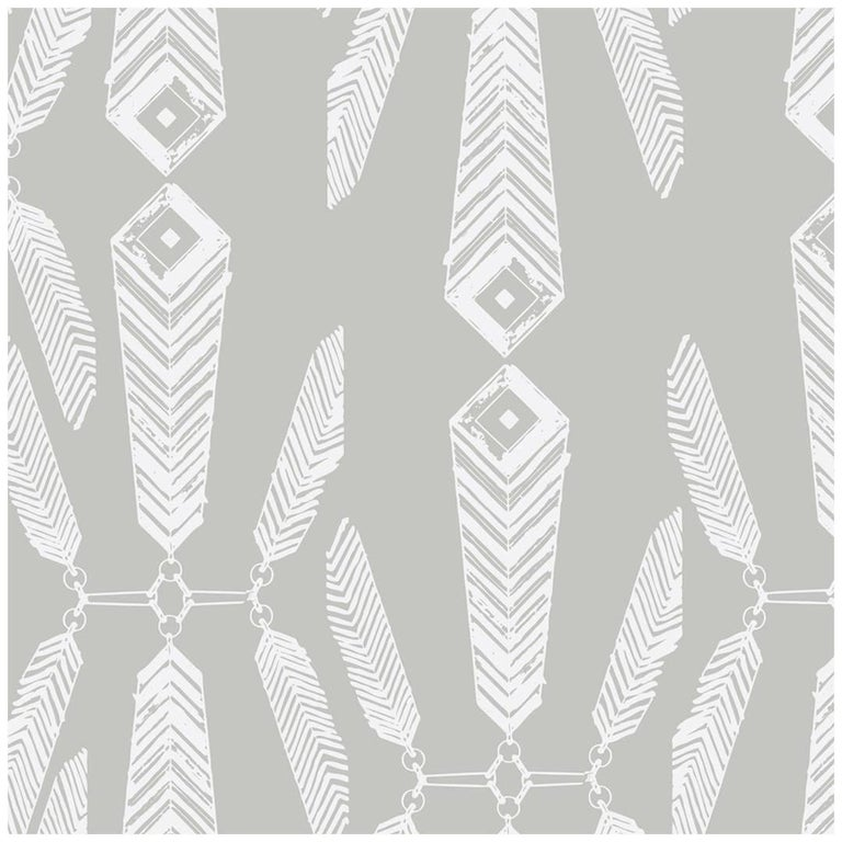 Indian Summer Designer Wallpaper in Color Heather 'White on Gray' For Sale