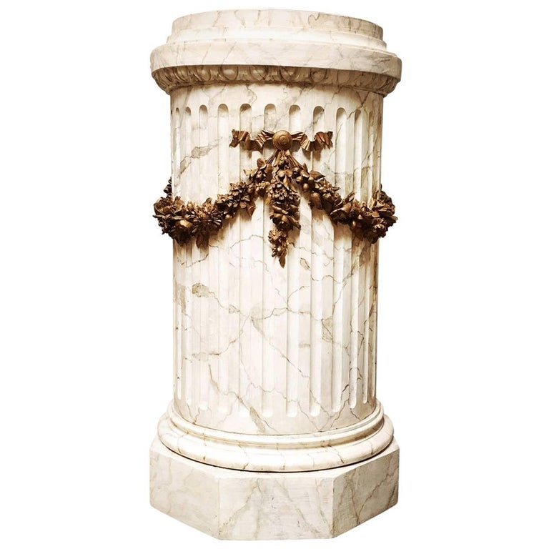 French Louis XVI Style Carved Wood Pedestal