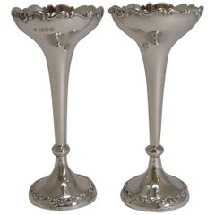 Pair of Antique English Sterling Silver Posy/Flower Vases
