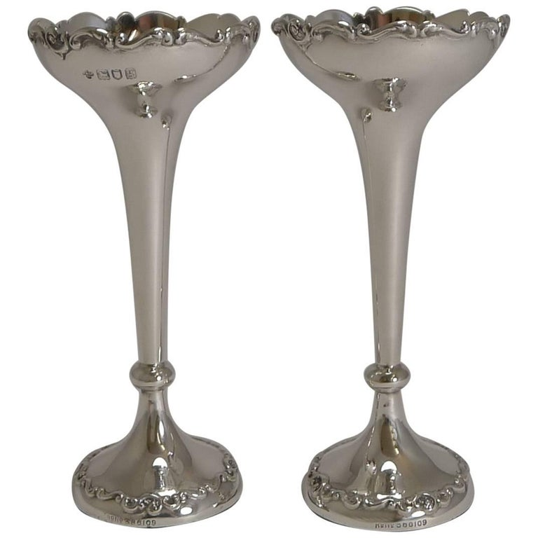 Pair Of Antique English Sterling Silver Posyflower Vases For Sale