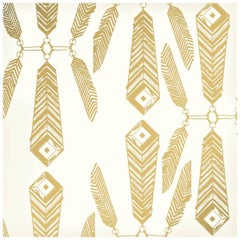 Indian Summer Designer Wallpaper in Color Sphinx 'Metallic Gold on Soft White'