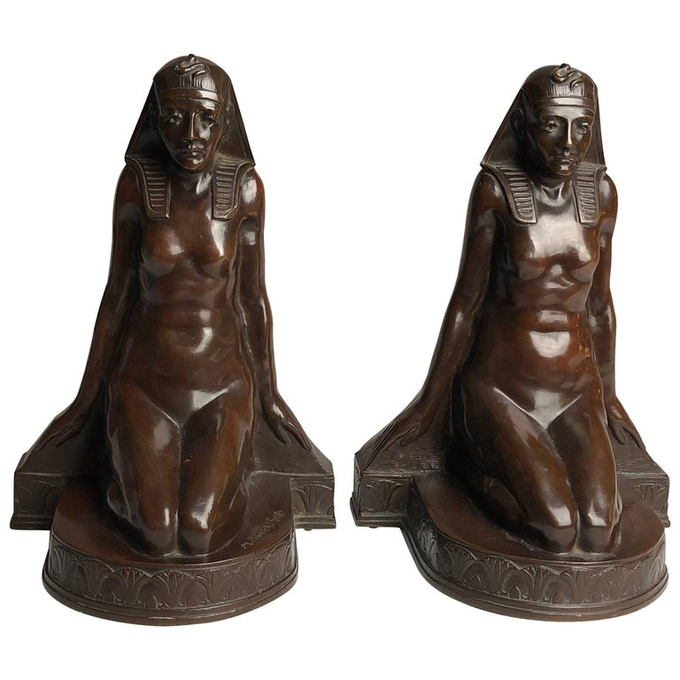 Late 19th Century american bookends in Egptian style, by Theodore B Starr  1890
