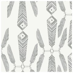 Indian Summer Designer Wallpaper in Color Brush 'Warm Charcoal on Soft White'