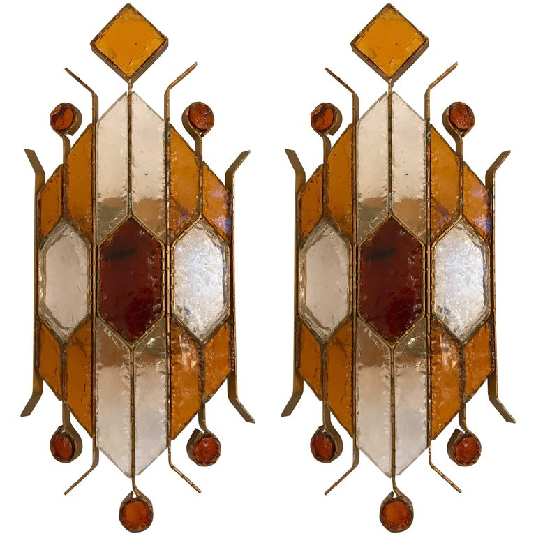 Pair of Sconces Hammered Glass by Longobard. Italy, 1970s For Sale