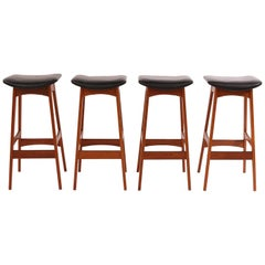Johannes Andersen Teak and Leather Barstools