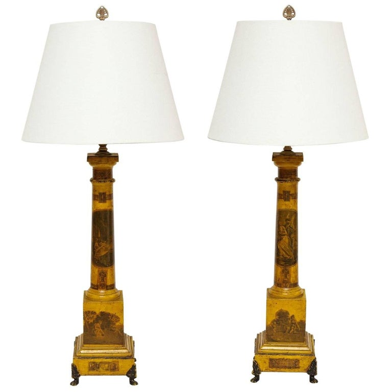 Pair of Tole Obelisks Fitted as Lamps