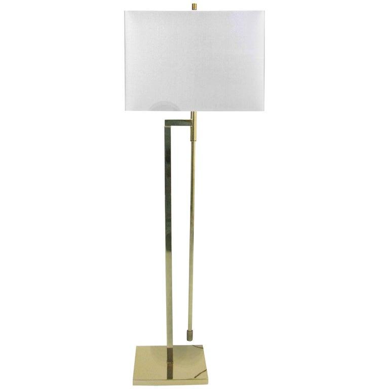 Midcentury Laurel Brass Adjustable Floor Lamp 1
