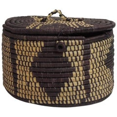 African Hand-Woven Oval Artisanal Basket with Lid