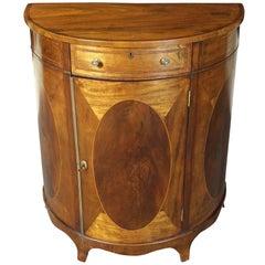 Late 19th Century Sheraton Style Demi-Lune Silver Cabinet