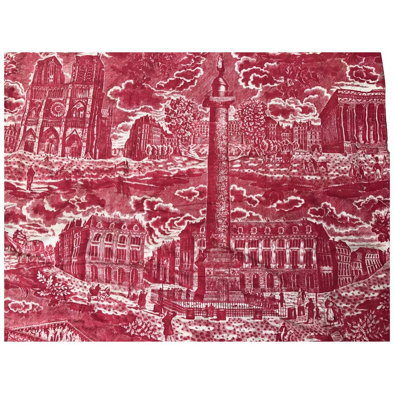 French Toile de Jouy Red and White Textile, Monuments of Paris For Sale