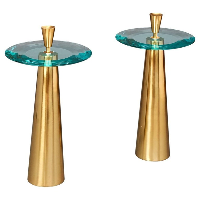 Limited Edition Side Tables by Roberto Rida with Triple Beveled Glass Top For Sale