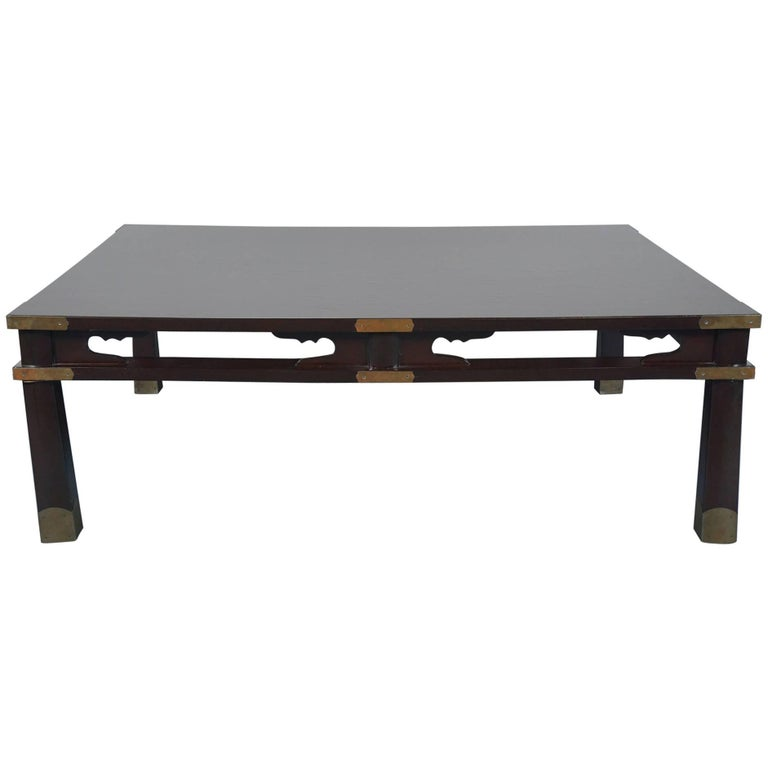 Lacquered Chinese Coffee Table in Dark Brown