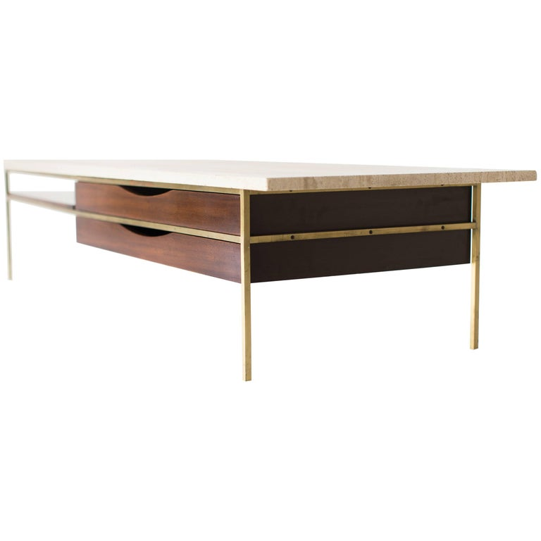 Paul McCobb Brass Coffee Table for Calvin Irwin Collection For Sale