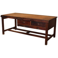 Vintage Wooden Draftsman's Desk, Table with Flat File Storage Distressed