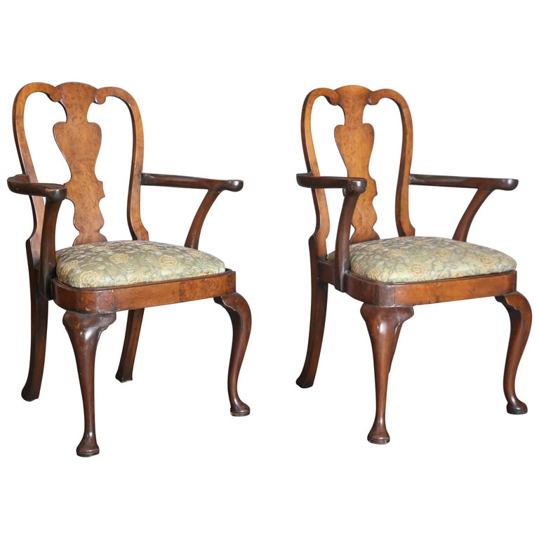 Pair of Early 18th Century Mahogany and Walnut Burl Queen Anne Armchairs