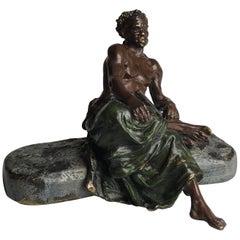 Vienna Bergman Bronze Black Man Seated with Rifle, circa 1900