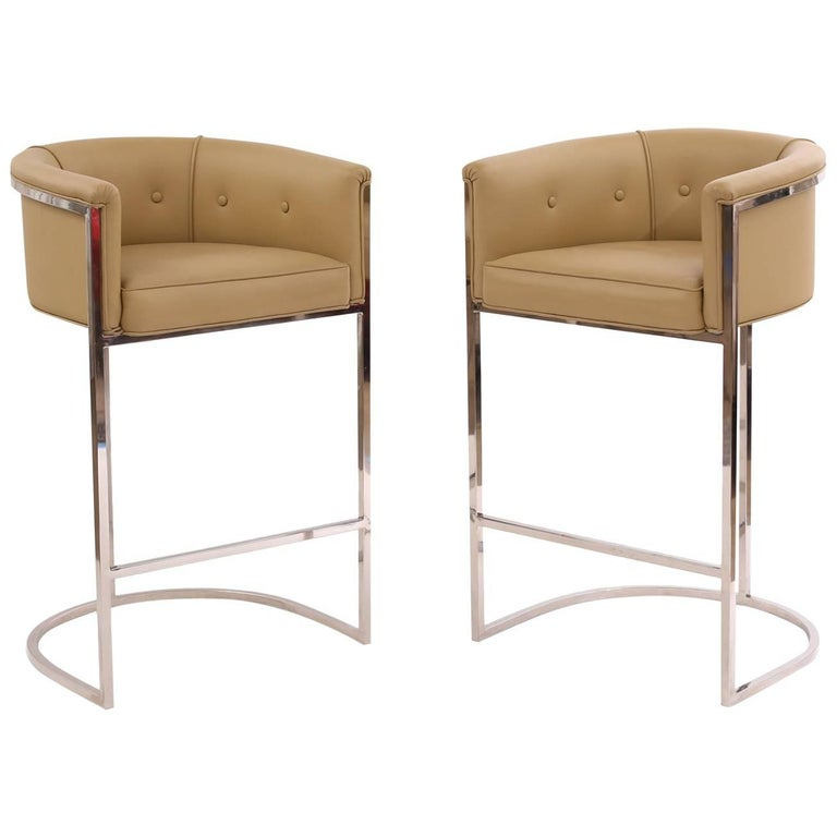 Pair of Sleek Chrome and Leather Barstools