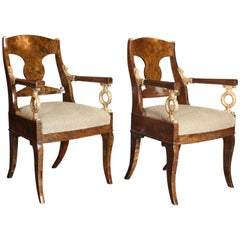 Pair of 19th Century Russian Empire Carpathian Elm Burl and Gilt Armchairs
