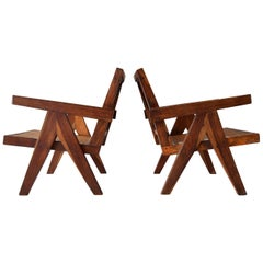 Pair of Pierre Jeanneret PJ-SI-29-A Low Chairs in Sissoo Rosewood, circa 1955