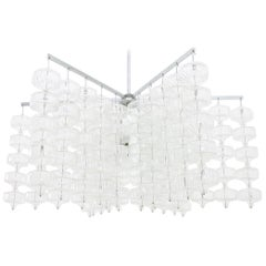Huge Glass and Steel Chandelier by Aloys Gangkofner Germany 1965
