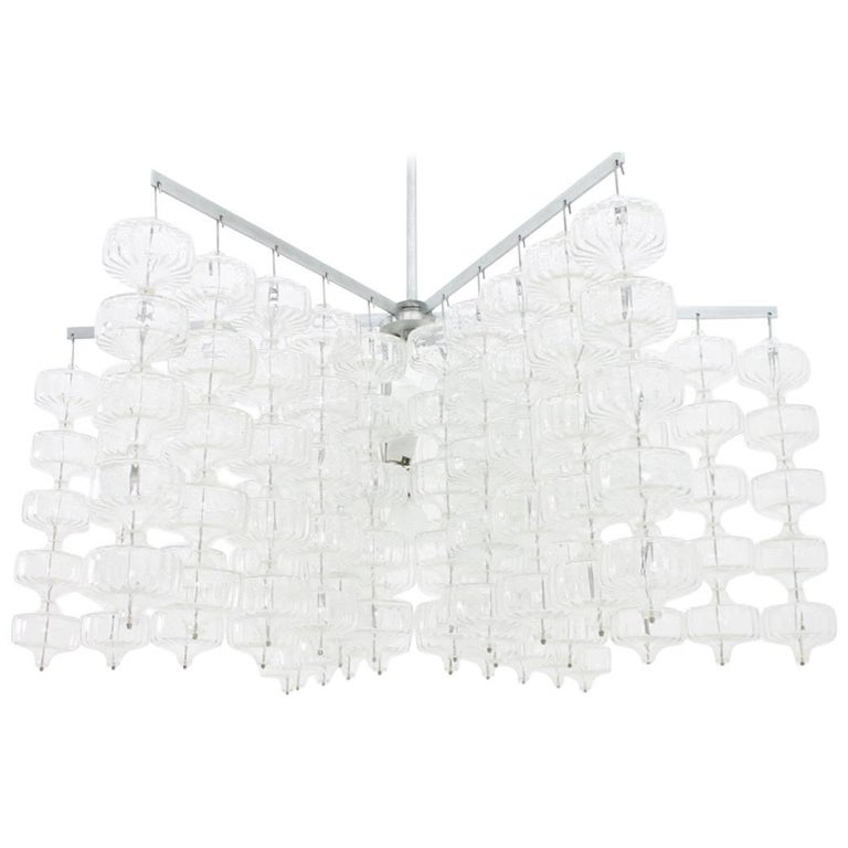 Huge Glass and Steel Chandelier by Alois Gangkofner Germany 1965 1