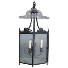 Three-Light Antique English Lantern with Glass Smoke Cover