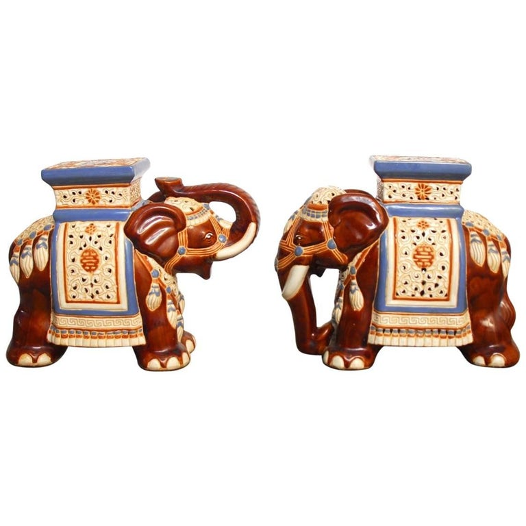 Pair of Ceramic Elephant Garden Stools or Drink Tables For Sale