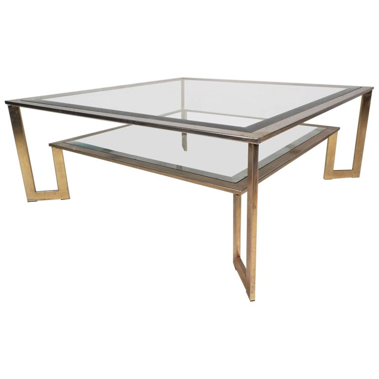 Mid Century Modern Square Two Tier Coffee Table For Sale At 1stdibs