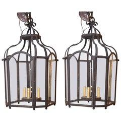 Pair of Four-Light Vintage Wrought Iron Lantern