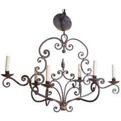 French Six-Light Scroll Work Wrought Iron Chandelier