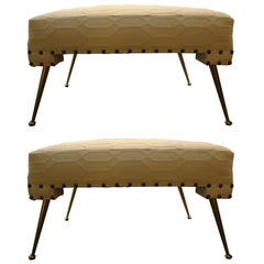 Pair of Italian Gio Ponti Inspired Benches Or Ottomans