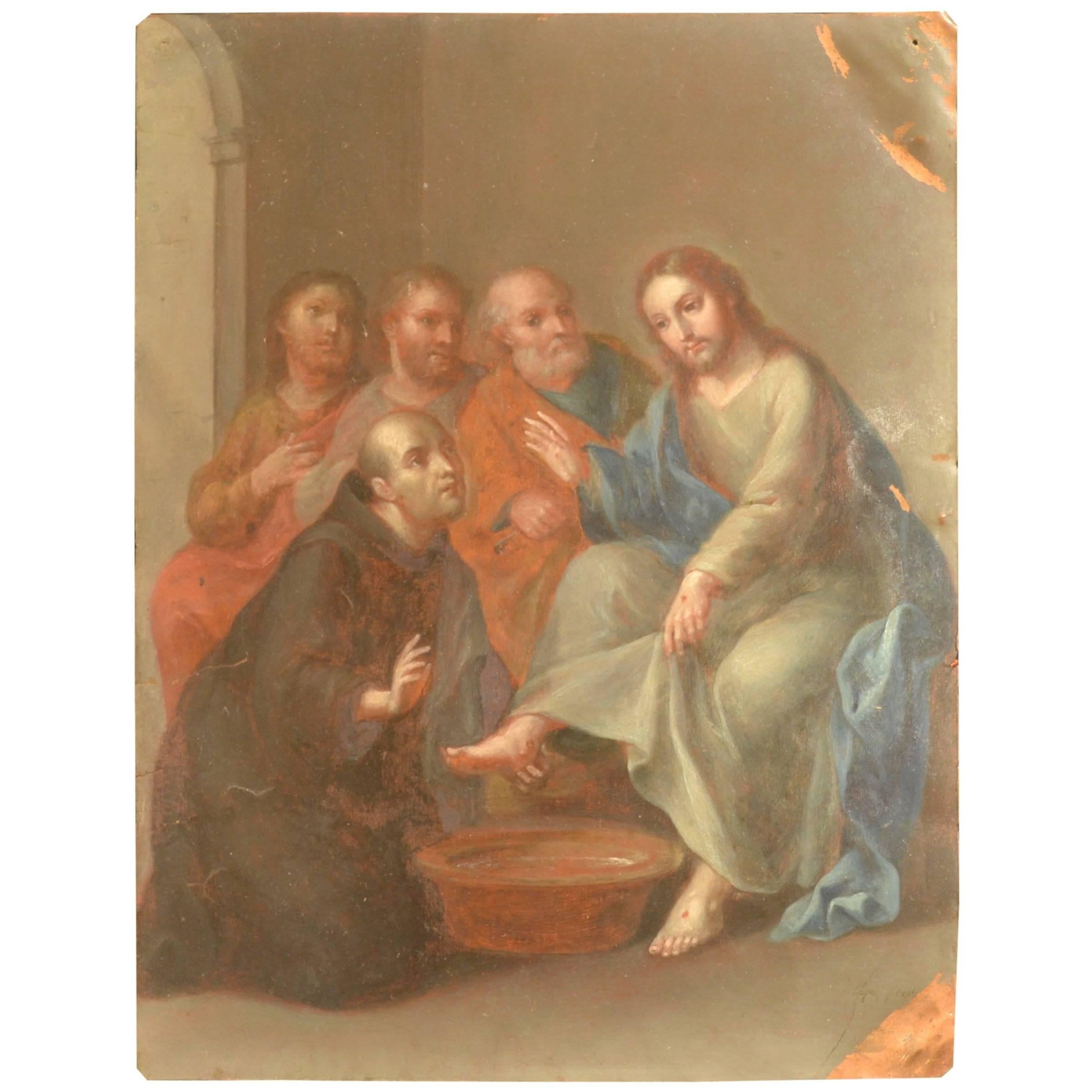 Christ with the apostles by Andres Lopez