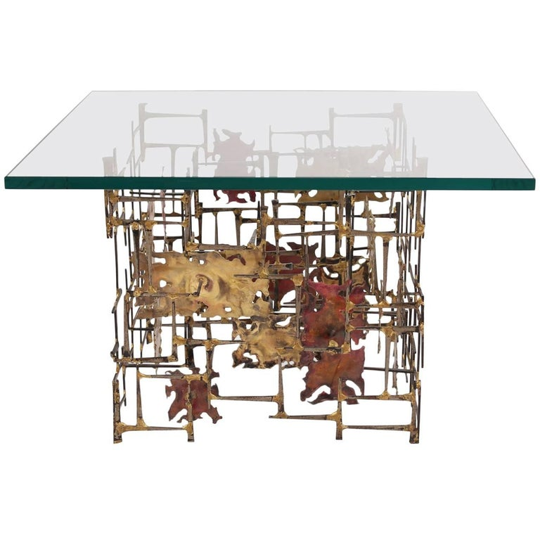 Brutalist Brass Copper and Steel Side Table