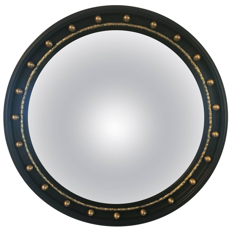 English Round Ebony Black and Gold Framed Convex Mirror (Diameter 24 1/2)