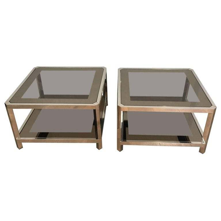 Pair of Large Octagonal Chromed Side Tables