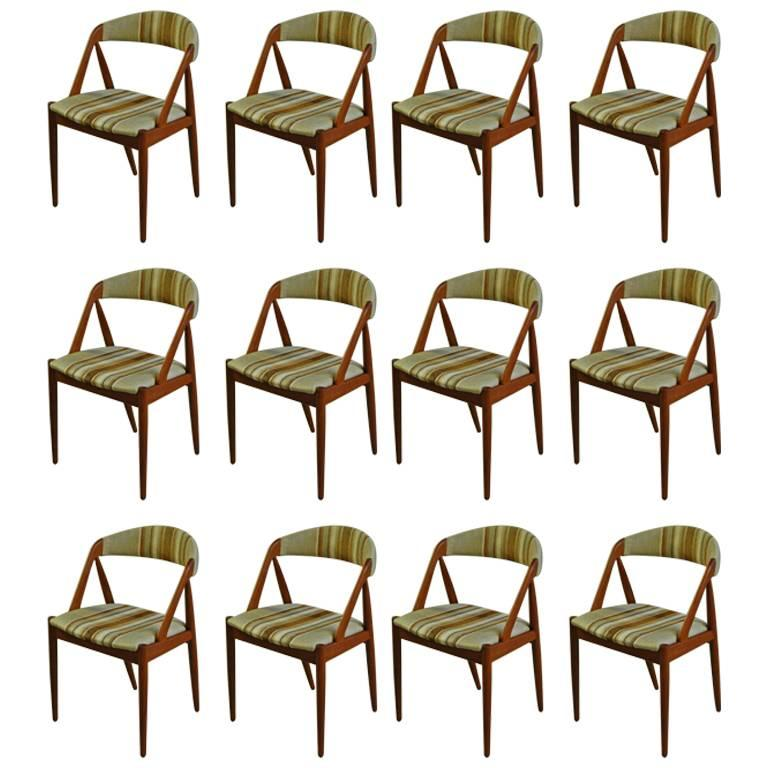 1960s Kai Kristiansen Set of Twelve Model 31 Dining Chairs in Teak