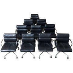 Set of Ten Eames for Herman Miller Black Soft Pad Management Chairs
