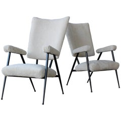 Pair of Metal Frame Armchairs in Sheepskin, Italy, 1960s