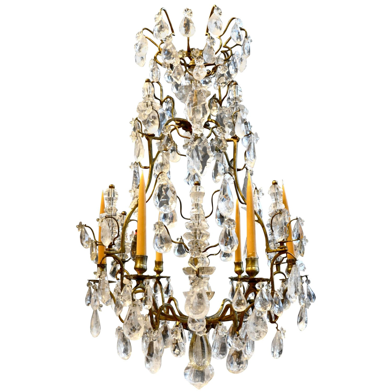 A Louis XV period gilded bronze rock crystal chandelier For Sale