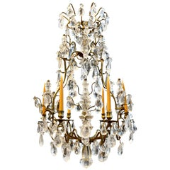 Period French Louis XV Gilt Bronze and Rock Crystal Chandelier, circa 1750