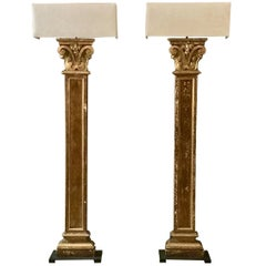 Pair of 19th century Pilaster Fragment as Floorlamps with Custommade Linen Shade