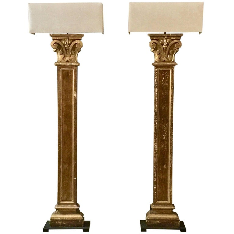 Pair of 19th century Pilaster Fragment as Floorlamps with Custommade Linen Shade For Sale