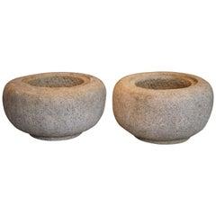 Fantastic Pair of Solid Granite GArden Planter Bowls