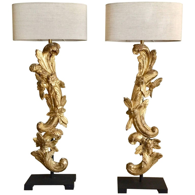 Pair of 19th Century French Architectural Gold Gilt Fragments as Lamps For Sale