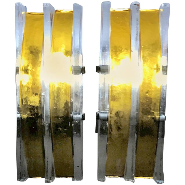 Pair of Mid-Century Modern Sconces in Murano Glass Attributed to Poliarte