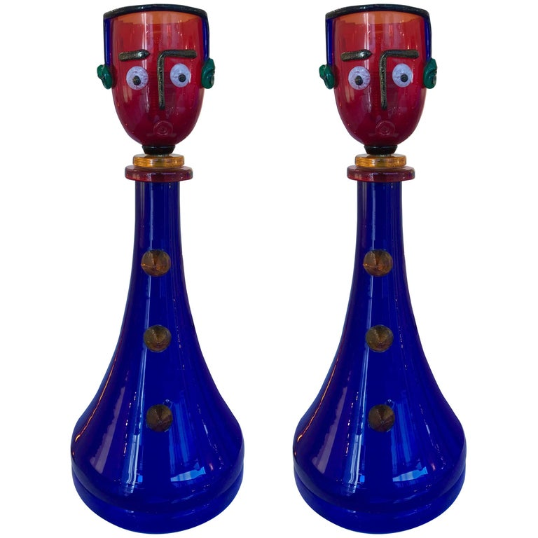 Pair of Character Lamps by Fratelli Toso Murano Glass, Italy, 1960s