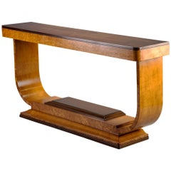 Art Deco Console with Light Base and Contrasting Dark Top