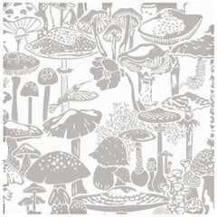 Mushroom City Designer Wallpaper in Stone 'Warm Grey and White'