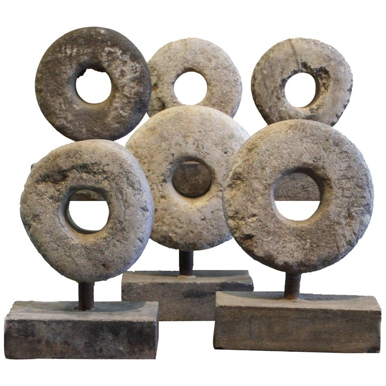 Fantastic 19th Century Carved Stone Millstone Spheres on Stand