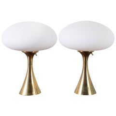 Laurel Lamp Pair, Mushroom Shade with Brass Base, 1960s